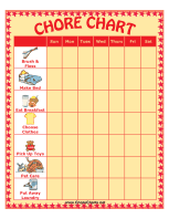 Chore Chart with Seven Chores and Pictures