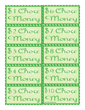 Chore Money Bills