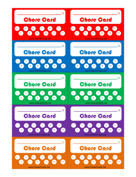 printable chore punch card. Black Bedroom Furniture Sets. Home Design Ideas