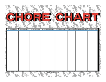 Cleaning Staff Chore Chart