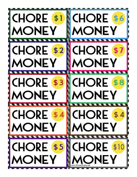 Colorful Chore Money