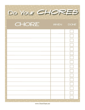 Do Your Chore Chart