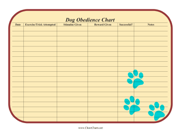 Printable Dog Obedience Chart